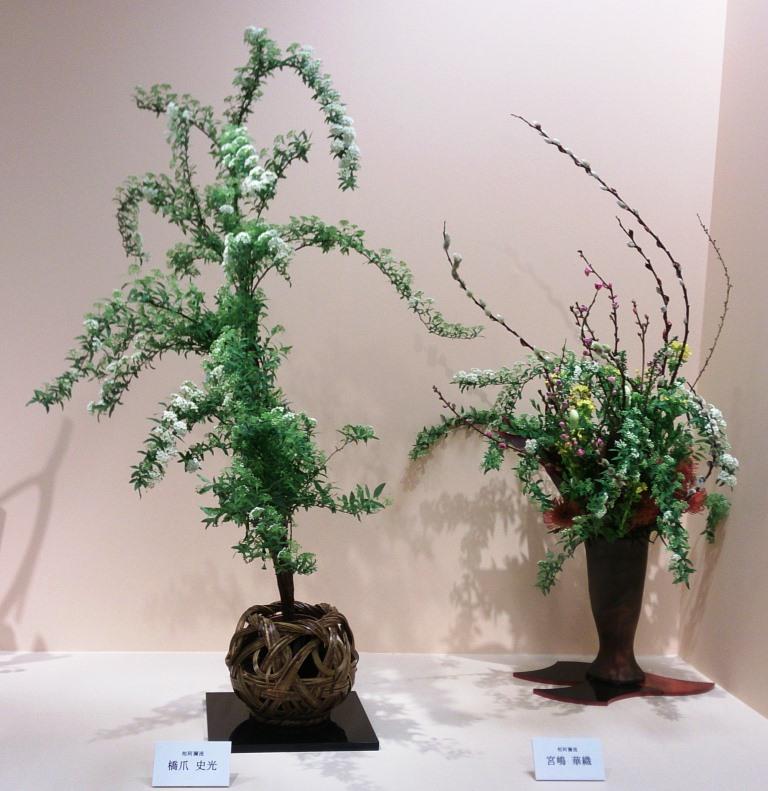 左:橋爪 史光 (こでまり) 右:宮嶋 華織 (桃、こでまり、ネコヤナギ他)